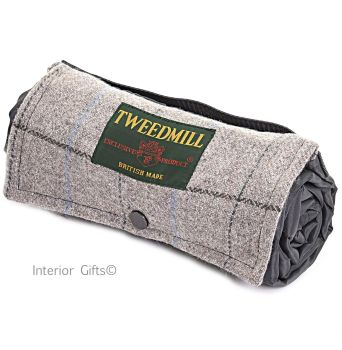 WATERPROOF Backed Picnic Rug COMPACT WALKER Silver Grey Check Wool Tweed Small