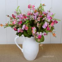 Faux Silk Sweet Pea Bunch in Mixed Summer Pinks