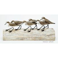 Archipelago 'Little Stint Block' Six Stint Birds Wood Carving