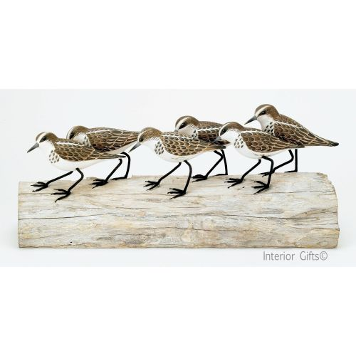 Archipelago 'Little Stint Block' Six Stint Birds on Driftwood Wood Carving