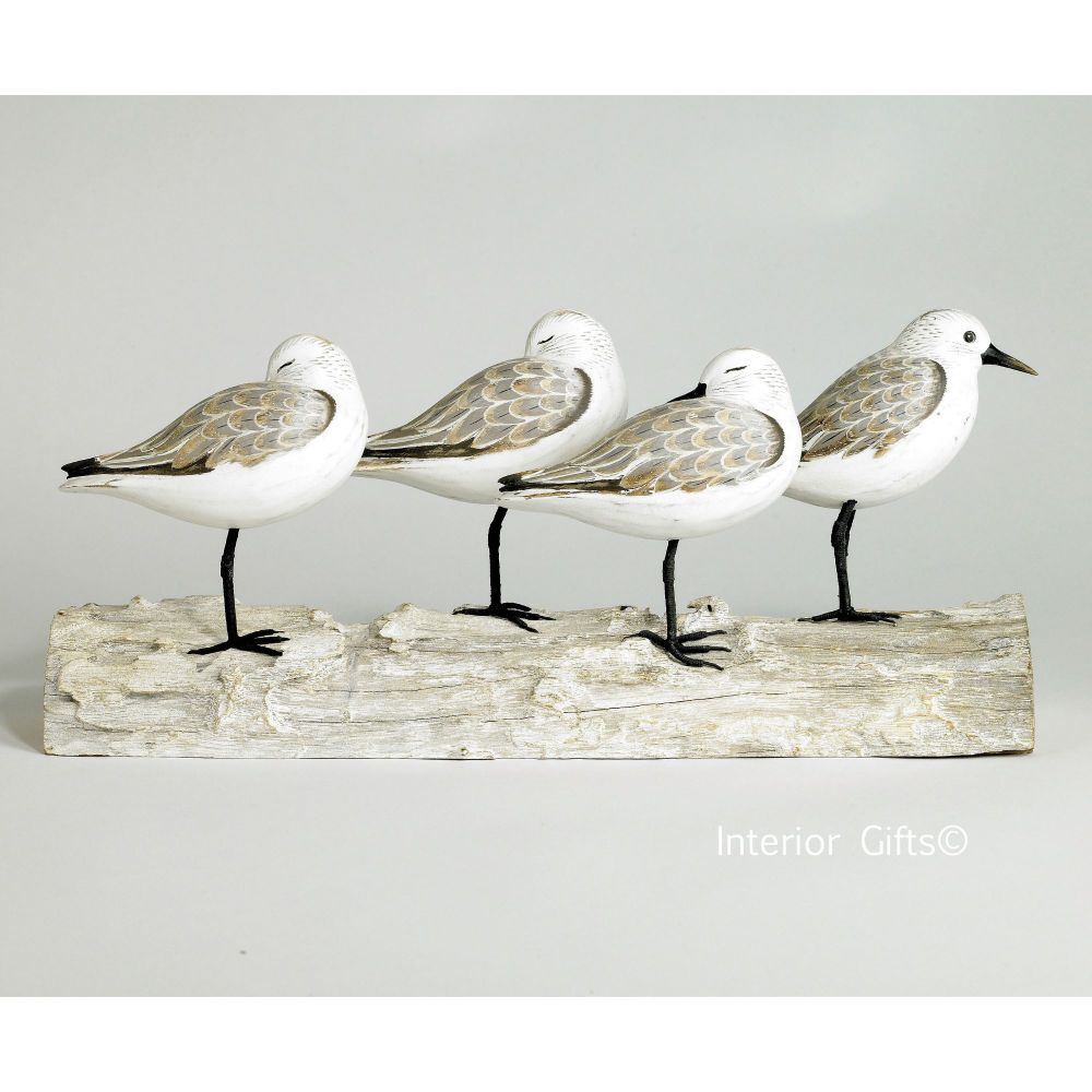 Archipelago 'Sanderling Block' Four Sanderling Birds on Driftwood Wood Carv