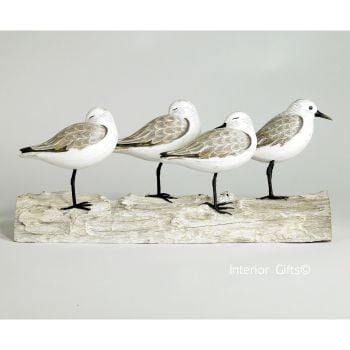 Archipelago 'Sanderling Block' Four Sanderling Birds Wood Carving