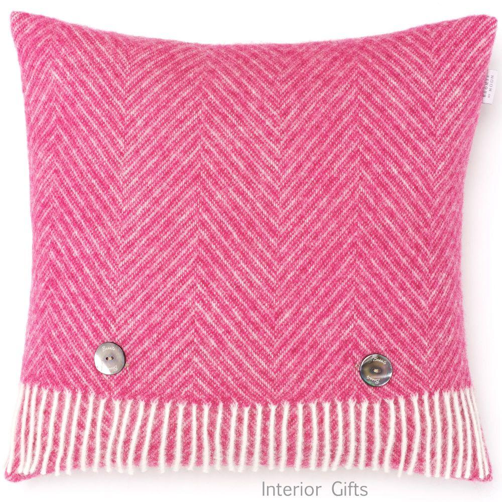 BRONTE by Moon Cushion - Cerise Pink Herringbone Shetland Wool