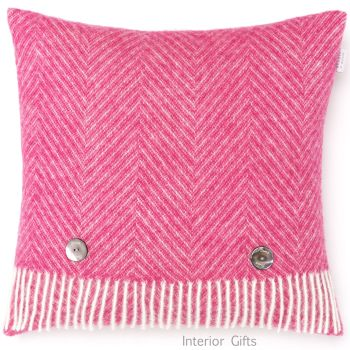 BRONTE by Moon Cushion - Pink Cerise Herringbone Shetland Wool