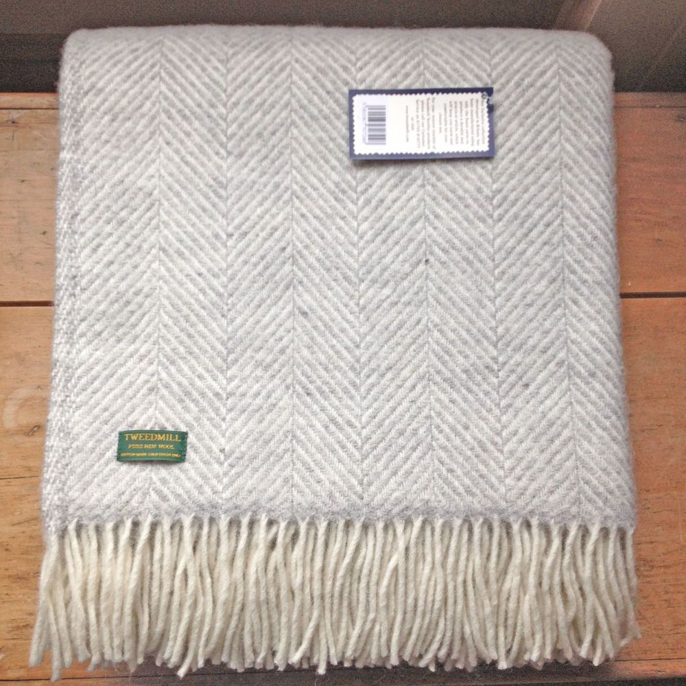 Tweedmill Silver Grey & Cream Herringbone Pure New Wool Throw