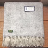Tweedmill Silver Grey Herringbone Pure New Wool Throw Blanket