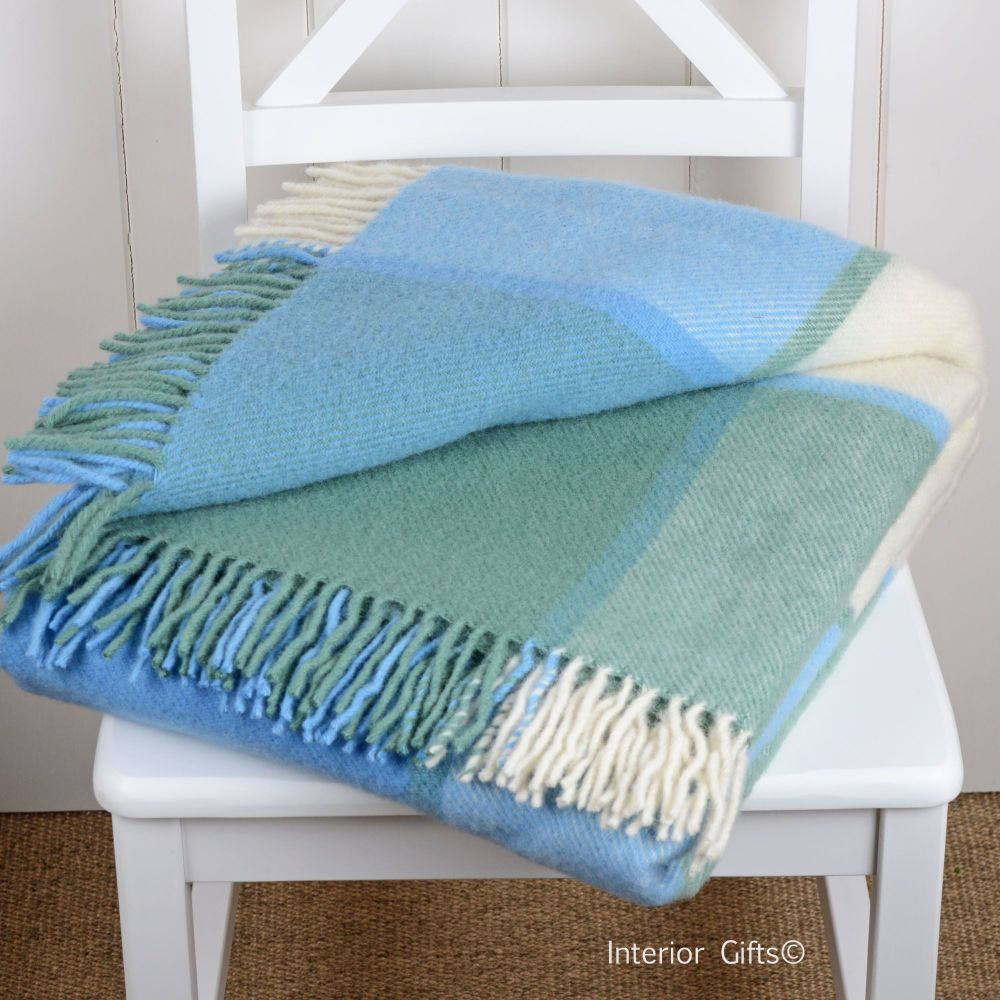 Tweedmill Multi Check Sky Blue & Cream Pure New Wool Throw