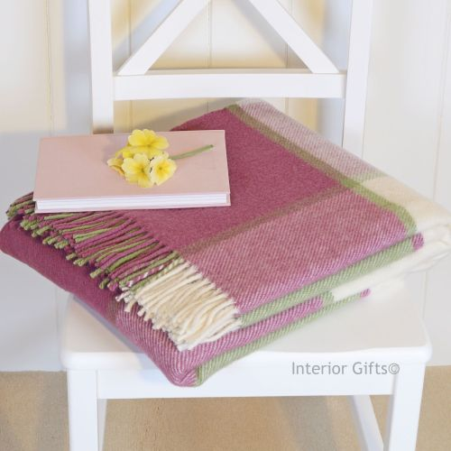 Tweedmill Multi Check Soft Pink & Cream Pure New Wool Throw