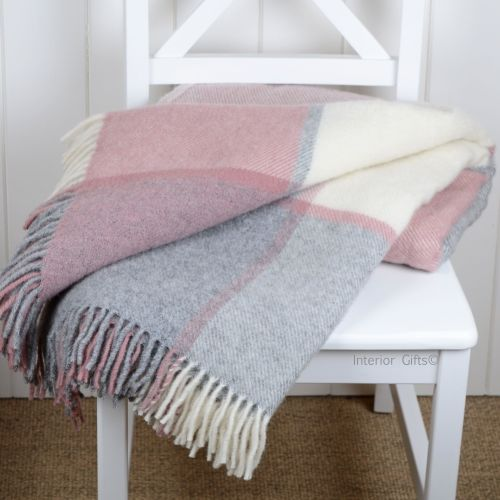 Tweedmill Multi Check Dusky Pink & Silver Grey Pure New Wool Throw