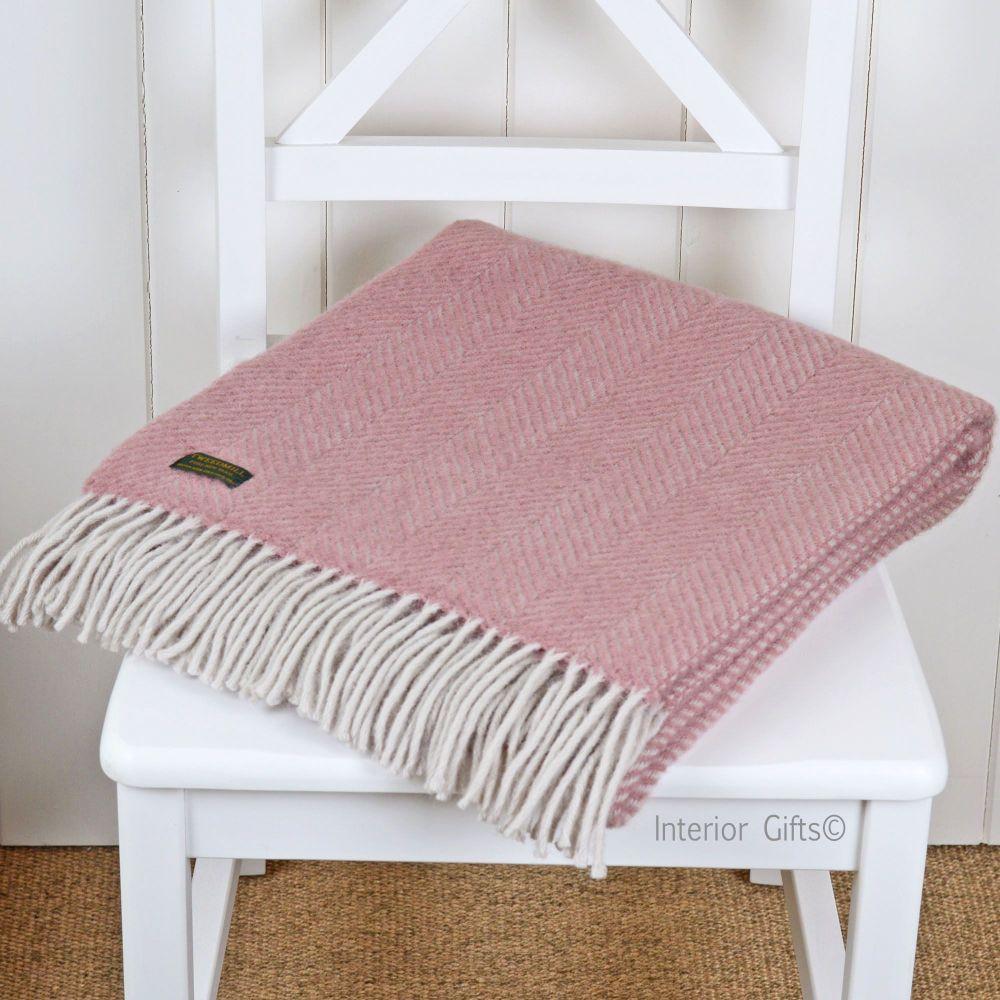 Tweedmill Knee Rug, Small Blanket or Throw in Dusky Pink & Pearl Herringbon