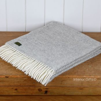Tweedmill Silver Grey Honeycomb Knee Rug or Small Blanket Throw Pure New Wool