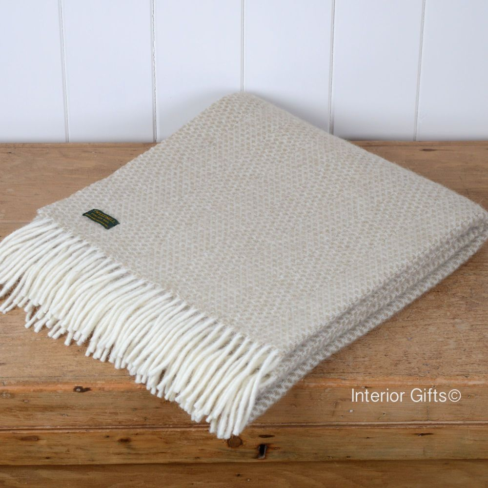 Tweedmill Knee Rug, Small Blanket or Throw in Oatmeal Beige Honeycomb Pure