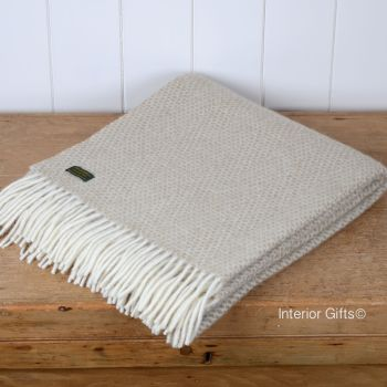 Tweedmill Beige Oatmeal Honeycomb Knee Rug or Small Blanket Throw Pure New Wool