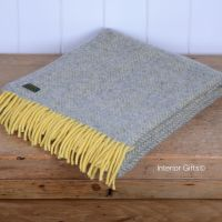 Tweedmill Lemon & Silver Grey Herringbone Knee Rug or Small Blanket Throw Pure New Wool