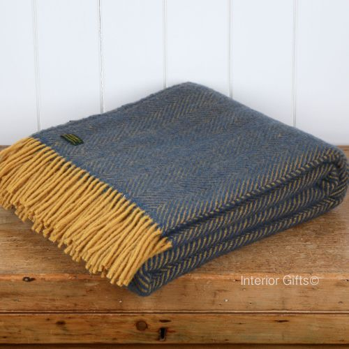 Tweedmill Navy Blue And Deep Lemon Herringbone Pure New Wool Throw Blanket