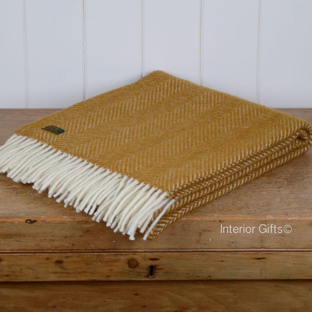 Tweedmill Knee Rug, Small Blanket or Throw in Antique Gold Herringbone Pure