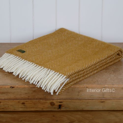 Tweedmill Knee Rug, Small Blanket or Throw in Antique Gold Herringbone Pure