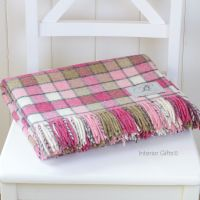 BRONTE by Moon Berlin Pink Mix Check Throw Pure New Shetland Wool