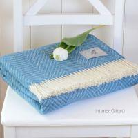 BRONTE by Moon Aqua Blue & Cream Variegated Herringbone Throw in 100% Shetland Pure New Wool