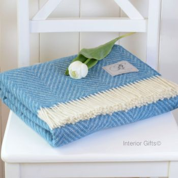 BRONTE by Moon Aqua Blue & Cream Variegated Herringbone Throw in 100% Shetland Pure New Wool