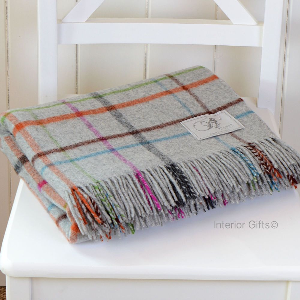 BRONTE by Moon Grey Multi Windowpane Throw in supersoft Merino Lambswool