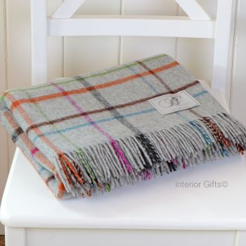 BRONTE by Moon Grey Multi Windowpane Check Throw in supersoft Merino Lambswool