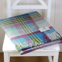 BRONTE by Moon Grey Thistle Multi Check Throw Pure New Shetland Wool