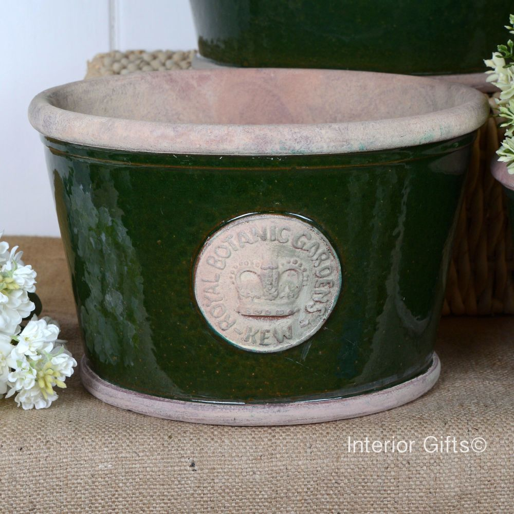 Kew Low Planter Pot Country Green - Royal Botanic Gardens Plant Pot - Mediu