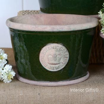 Kew Low Planter Pot Country Green - Royal Botanic Gardens Plant Pot - Medium