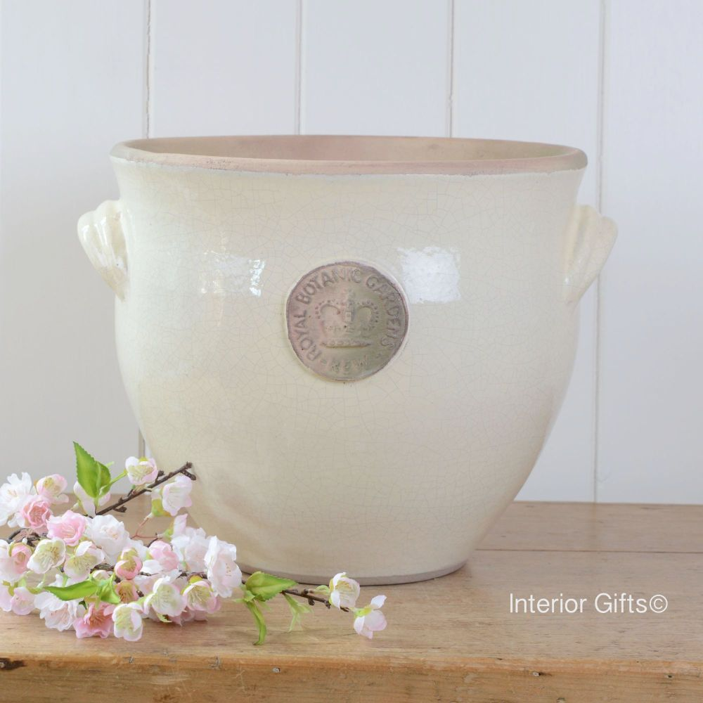 Kew Provencal Pot with Handles Ivory Cream - Royal Botanic Gardens Plant Po