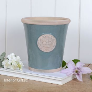 Kew Long Tom Pot in Green Smoke - Royal Botanic Gardens Plant Pot - Medium