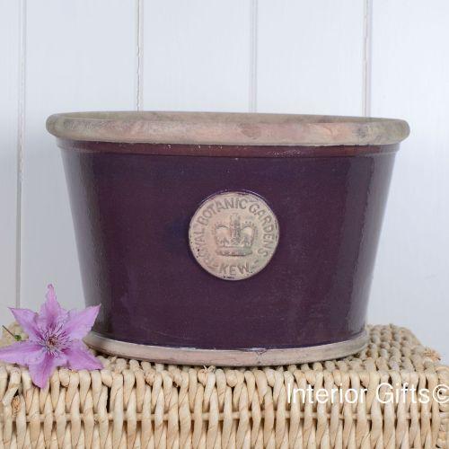 Kew Low Planter Pot Aubergine - Royal Botanic Gardens Plant Pot - Large