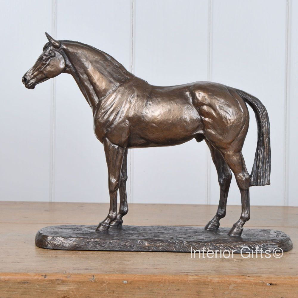 Thoroughbred Horse Bronze Sculpture Standing Square & Alert