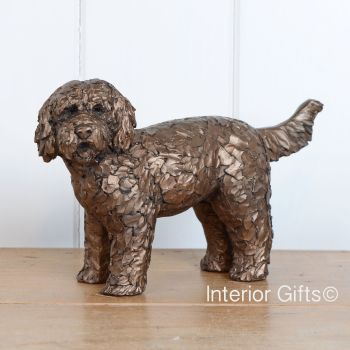 BUTTON LABRADOODLE Standing Frith Bronze Sculpture by Adrian Tinsley