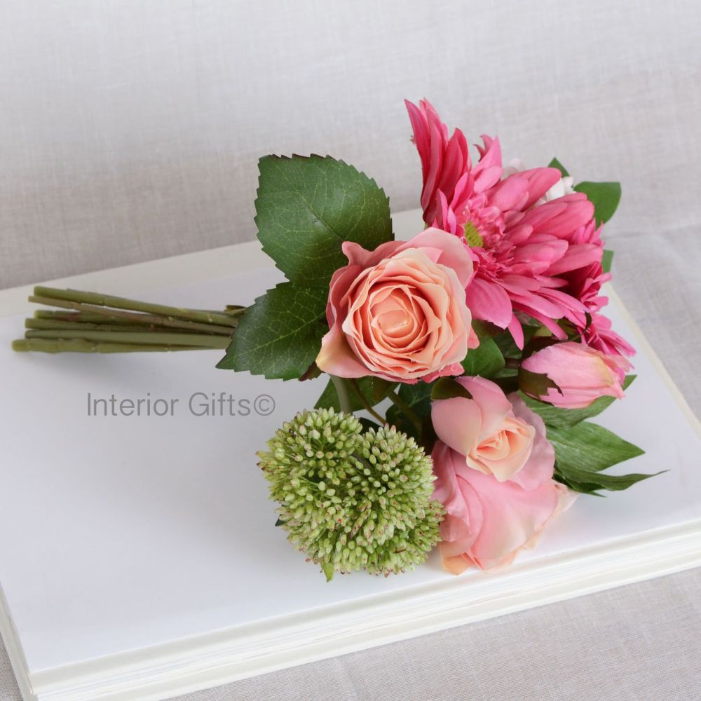 Faux Silk Rose & Gerbera Bouquet - Stunning Mix of Pinks