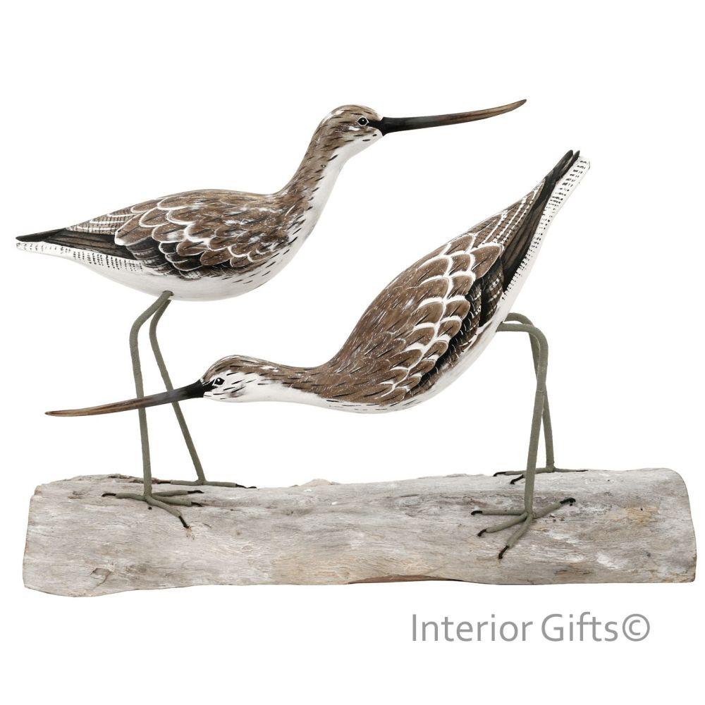 Archipelago 'Greenshank Block' Two Greenshank Birds Wood Carving