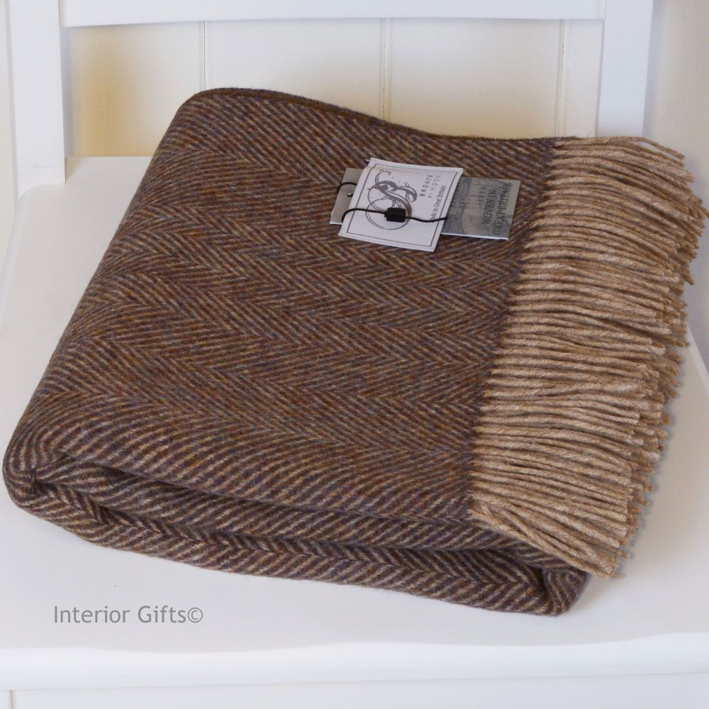 BRONTE by Moon Grape & Beige Herringbone Throw in 100% Shetland Pure New Wo