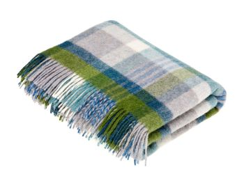 BRONTE by Moon Melbourne Jade Check Throw Pure New Shetland Wool
