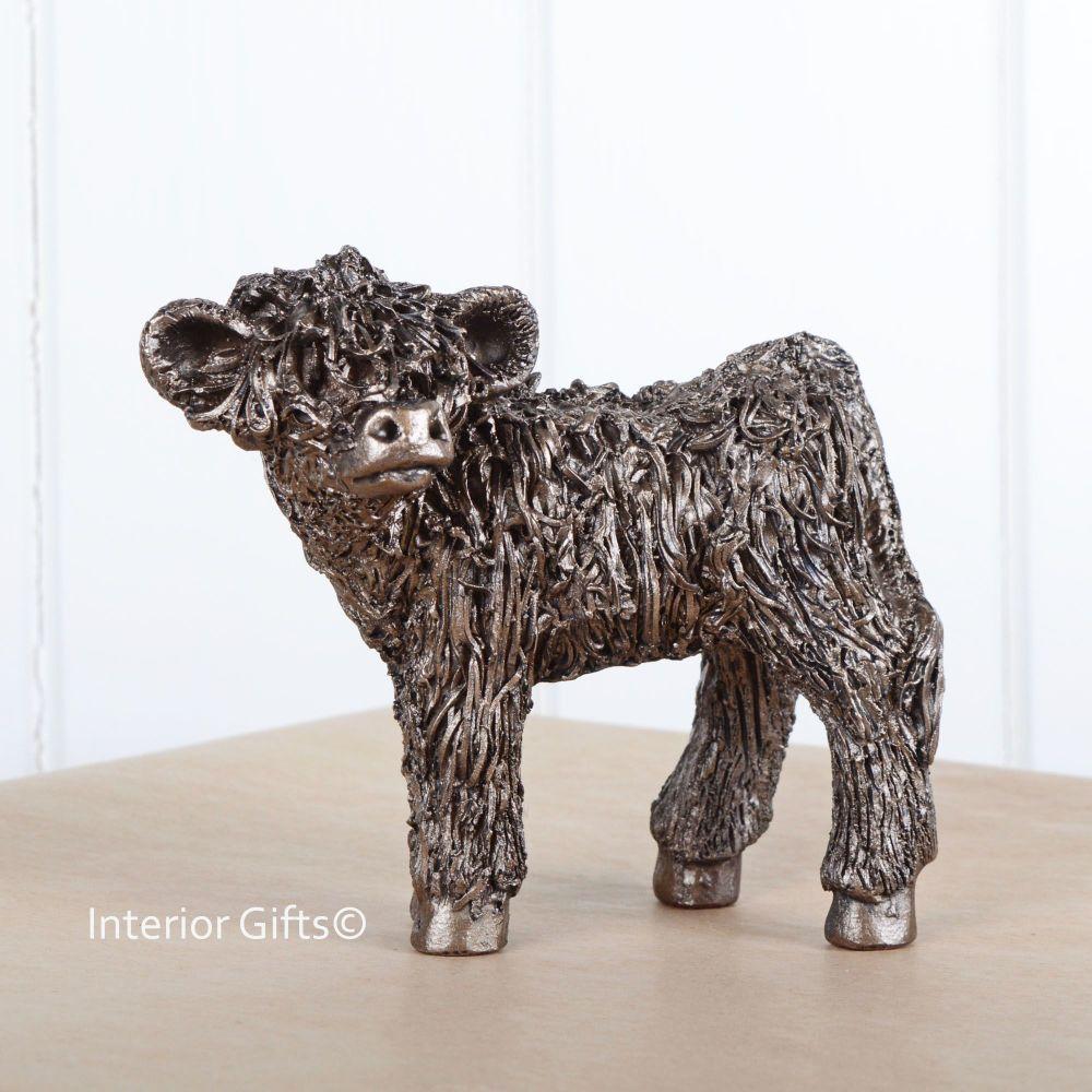 HIGHLAND CALF Standing Frith Bronze Sculpture by Veronica Ballan