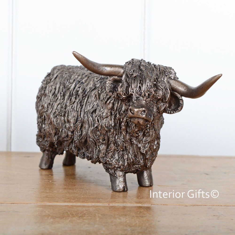 HIGHLAND BULL Standing Frith Bronze Sculpture by Veronica Ballan