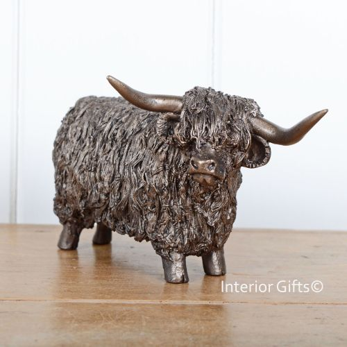 HIGHLAND BULL Standing Frith Bronze Sculpture by Veronica Ballan
