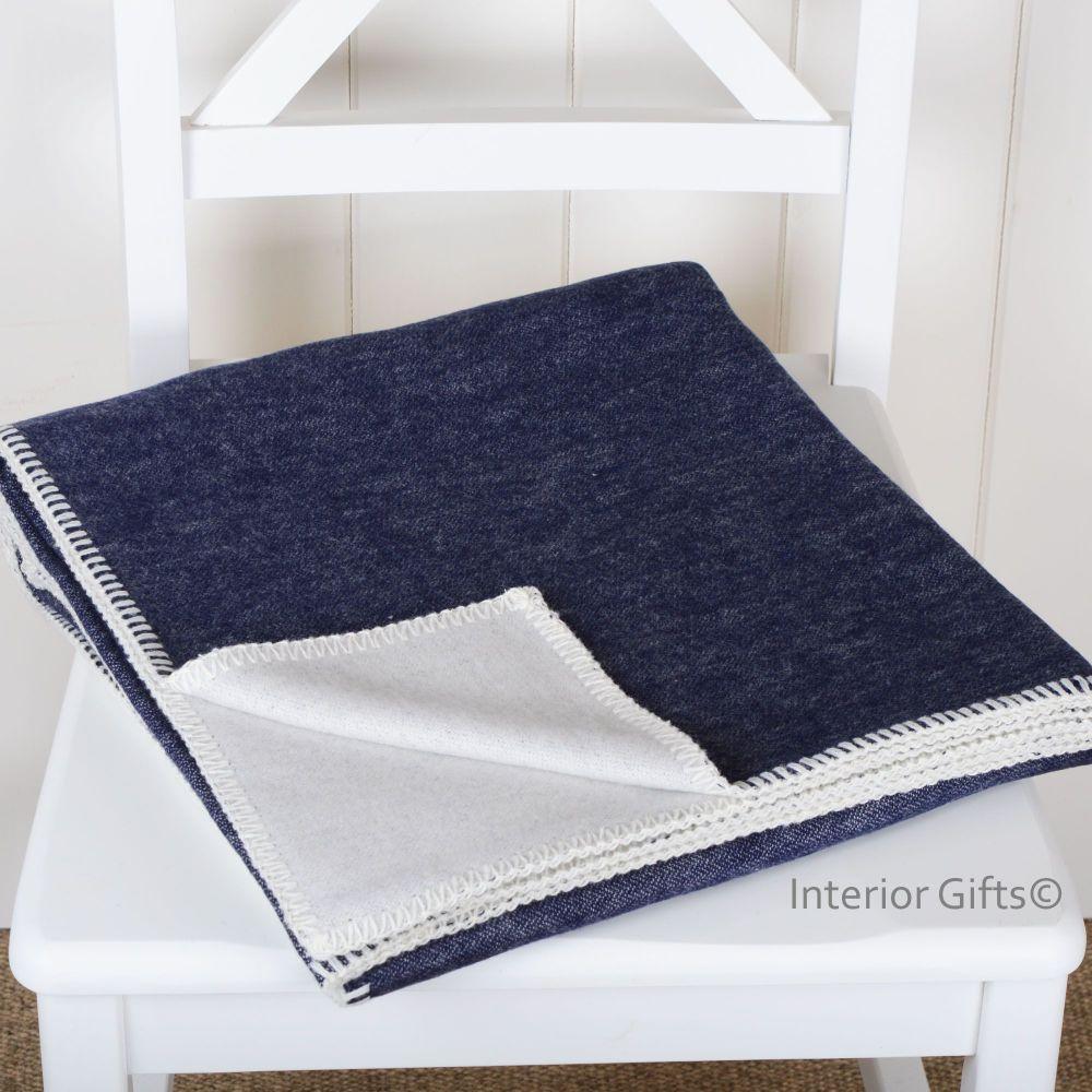 Navy Blue & Cream Organic Cotton Plain Reversible Throw