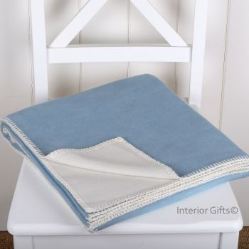 Light Blue & Cream Supersoft Organic Cotton Plain Reversible Throw