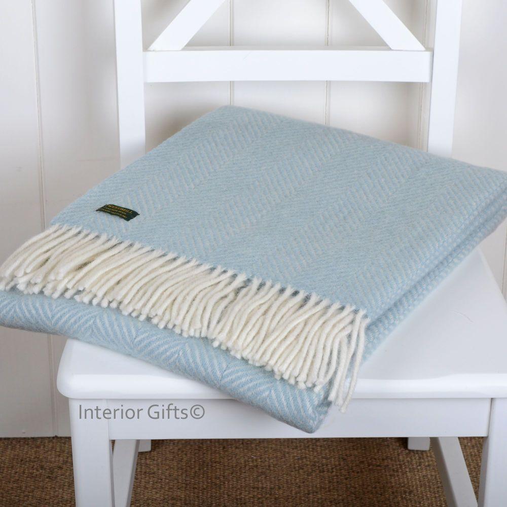 Knee Rug, Small Blanket or Throw in Duck Egg Blue Herringbone Pure New Wool
