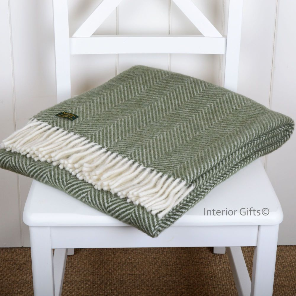 Knee Rug, Small Blanket or Throw in Olive Green Herringbone Pure New Wool