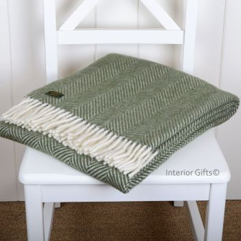 Tweedmill Olive Green Herringbone Knee Rug or Small Blanket Throw Pure New Wool