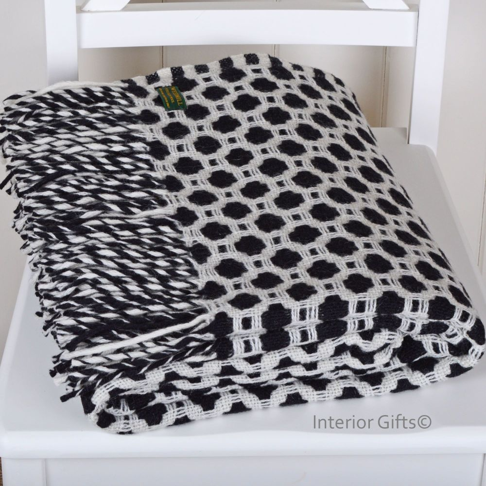 Tweedmill Crossweave Charcoal Black & Chalk White Pure New Wool Throw