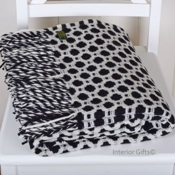 Tweedmill Crossweave Charcoal Black & Chalk White Pure New Wool Throw Blanket