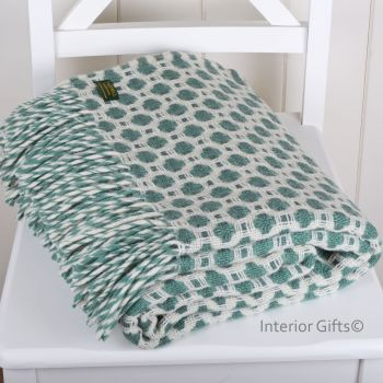 Tweedmill Crossweave Sea Green & Chalk White Pure New Wool Throw Blanket