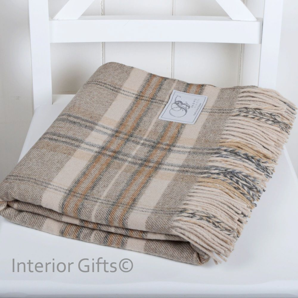 BRONTE by Moon Country Check Natural Throw in supersoft Merino Lambswool